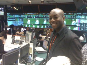Me at the Tokyo Broadcasting Station control room